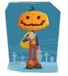 Farm Scarecrow Cartoon Vector Character AKA Peet Pumpkinhead - Illustration With Graveyard Background