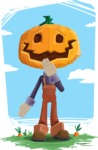 Farm Scarecrow Cartoon Vector Character AKA Peet Pumpkinhead - In the Farm Illustration