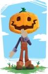 Farm Scarecrow Cartoon Vector Character AKA Peet Pumpkinhead - In the Farm Illustration