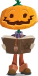 Farm Scarecrow Cartoon Vector Character AKA Peet Pumpkinhead - Making a Curse with a Book