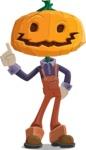 Farm Scarecrow Cartoon Vector Character AKA Peet Pumpkinhead - Making a Point