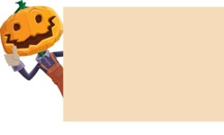 Farm Scarecrow Cartoon Vector Character AKA Peet Pumpkinhead - Making a Presentation on a Whiteboard