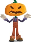 Farm Scarecrow Cartoon Vector Character AKA Peet Pumpkinhead - Making Scary Face