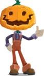 Farm Scarecrow Cartoon Vector Character AKA Peet Pumpkinhead - Making Thumbs Up