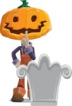 Farm Scarecrow Cartoon Vector Character AKA Peet Pumpkinhead - On a Grave