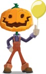 Farm Scarecrow Cartoon Vector Character AKA Peet Pumpkinhead - On a Party with a Balloon