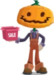 Farm Scarecrow Cartoon Vector Character AKA Peet Pumpkinhead - On a Sale