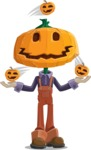 Farm Scarecrow Cartoon Vector Character AKA Peet Pumpkinhead - Playing on Halloween