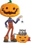 Farm Scarecrow Cartoon Vector Character AKA Peet Pumpkinhead - Playing With Cat on Halloween