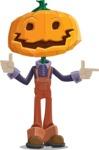 Farm Scarecrow Cartoon Vector Character AKA Peet Pumpkinhead - Pointing and Making Thumbs Up
