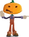 Farm Scarecrow Cartoon Vector Character AKA Peet Pumpkinhead - Pointing with a Finger