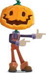 Farm Scarecrow Cartoon Vector Character AKA Peet Pumpkinhead - Pointing with Hands