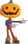 Farm Scarecrow Cartoon Vector Character AKA Peet Pumpkinhead - Pointing with Hands
