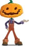 Farm Scarecrow Cartoon Vector Character AKA Peet Pumpkinhead - Presenting