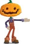 Farm Scarecrow Cartoon Vector Character AKA Peet Pumpkinhead - Showing with a Hand