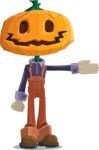Farm Scarecrow Cartoon Vector Character AKA Peet Pumpkinhead - Showing witha Smile