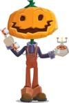 Farm Scarecrow Cartoon Vector Character AKA Peet Pumpkinhead - Talking on Phone