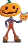 Farm Scarecrow Cartoon Vector Character AKA Peet Pumpkinhead - Trick Or Treating