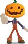 Farm Scarecrow Cartoon Vector Character AKA Peet Pumpkinhead - Waving for Welcome with a Hand