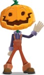 Farm Scarecrow Cartoon Vector Character AKA Peet Pumpkinhead - Waving