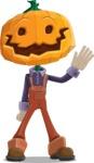 Farm Scarecrow Cartoon Vector Character AKA Peet Pumpkinhead - Waving