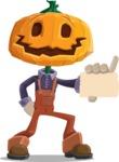 Farm Scarecrow Cartoon Vector Character AKA Peet Pumpkinhead - With a Blank Business Card