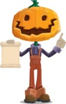 Farm Scarecrow Cartoon Vector Character AKA Peet Pumpkinhead - With a Blank Scroll