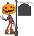 Farm Scarecrow Cartoon Vector Character AKA Peet Pumpkinhead - With a Blank Vintage Street Sign