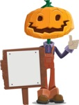 Farm Scarecrow Cartoon Vector Character AKA Peet Pumpkinhead - With a Blank Wood Sign