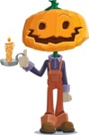 Farm Scarecrow Cartoon Vector Character AKA Peet Pumpkinhead - With a Candle