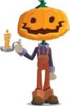 Farm Scarecrow Cartoon Vector Character AKA Peet Pumpkinhead - With a Candle