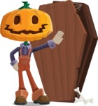 Farm Scarecrow Cartoon Vector Character AKA Peet Pumpkinhead - With a Coffin and a Zombie