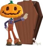 Farm Scarecrow Cartoon Vector Character AKA Peet Pumpkinhead - With a Coffin and a Zombie