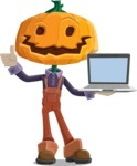 Farm Scarecrow Cartoon Vector Character AKA Peet Pumpkinhead - With a Computer