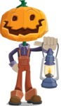 Farm Scarecrow Cartoon Vector Character AKA Peet Pumpkinhead - With a Lantern