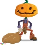 Farm Scarecrow Cartoon Vector Character AKA Peet Pumpkinhead - With a lot of Halloween Treats