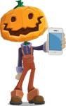 Farm Scarecrow Cartoon Vector Character AKA Peet Pumpkinhead - With a Phone