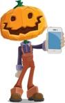 Farm Scarecrow Cartoon Vector Character AKA Peet Pumpkinhead - With a Phone
