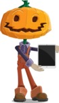 Farm Scarecrow Cartoon Vector Character AKA Peet Pumpkinhead - With a Tablet