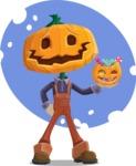 Farm Scarecrow Cartoon Vector Character AKA Peet Pumpkinhead - With a Watercolor Background