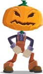 Farm Scarecrow Cartoon Vector Character AKA Peet Pumpkinhead - With Angry Face