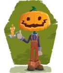 Farm Scarecrow Cartoon Vector Character AKA Peet Pumpkinhead - With Background Illustration