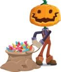 Farm Scarecrow Cartoon Vector Character AKA Peet Pumpkinhead - With Bag full of Halloween Treats