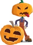 Farm Scarecrow Cartoon Vector Character AKA Peet Pumpkinhead - With Big Halloween Pumpkin
