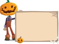 Farm Scarecrow Cartoon Vector Character AKA Peet Pumpkinhead - With Blank Halloween Whiteboard