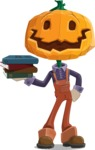 Farm Scarecrow Cartoon Vector Character AKA Peet Pumpkinhead - With Books
