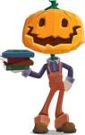 Farm Scarecrow Cartoon Vector Character AKA Peet Pumpkinhead - With Books