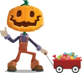 Farm Scarecrow Cartoon Vector Character AKA Peet Pumpkinhead - With Candy Wagoon