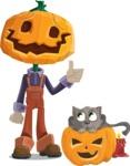 Farm Scarecrow Cartoon Vector Character AKA Peet Pumpkinhead - With Cat