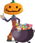 Farm Scarecrow Cartoon Vector Character AKA Peet Pumpkinhead - with Cauldron full of Sweets